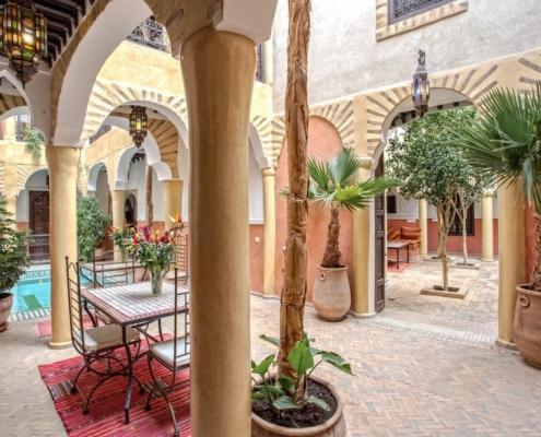 Riad in tadelakt all'esterno giardino centrale