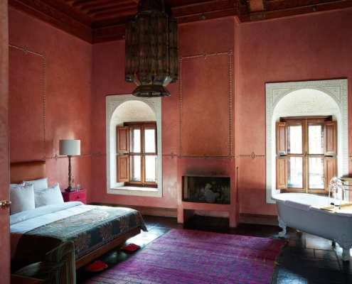 Stanza in tadelakt rosa marrakesh