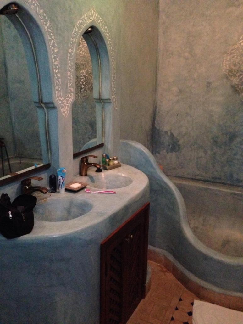 lavabo doppio in tadelakt blu